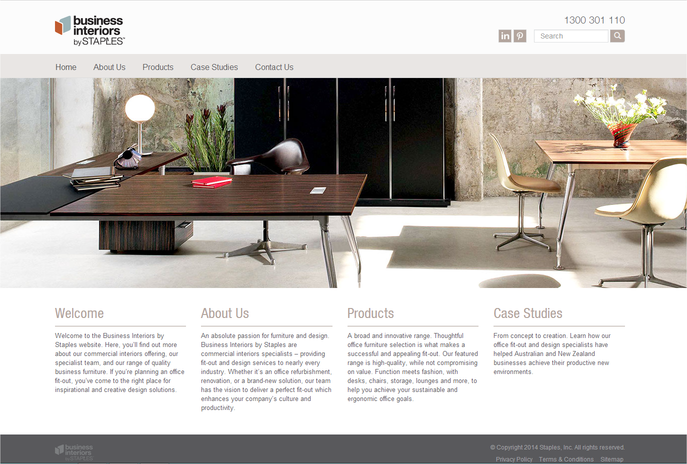 Business Interiors by Staples website